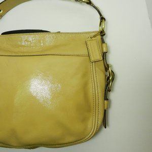 COACH Zoe Patent Leather Hobo Fawn / Mustard